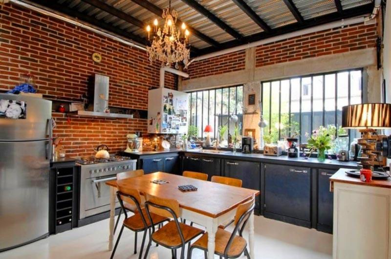 Mẫu nhà bếp xây bằng gạch không trát