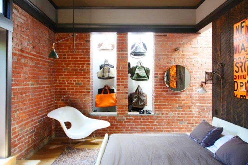 Phòng ngủ sử dụng gạch xây không trát